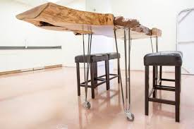 Table Legs With Casters by Alligator Juniper Live Edge Table W Rolling Hairpin Legs Porter