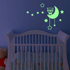stickers étoile chambre bébé stickers muraux fosforescente sticker mural hibou et la lune