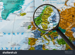 map of sweden map sweden through magnifying glass stock photo 404320618