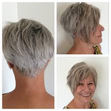 gray hair with low lights and an asymmetirc razor cut bob
