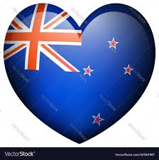 Flag New Zealand New Zealand Flag In Heart Shape Royalty Free Vector Image