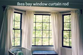 ikea curtain rods between blue and yellow bay window curtain rod