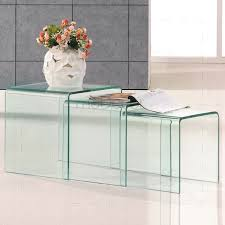glass coffee table set of 3 nested clear glass coffee side tables