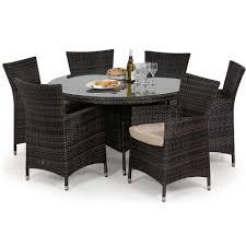 maze rattan miami 6 seat round garden furniture set rattan