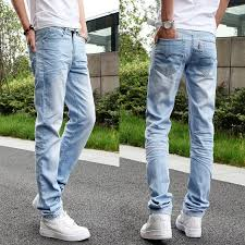 mens light colored jeans young men wear white light colored jeans korean fashion slim small