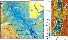 The Red Sea Map Initial Burst Of Oceanic Crust Accretion In The Red Sea Due To
