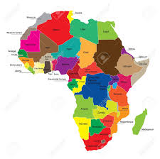 africa continent map detail color map of continent with borders each state