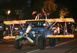 aps christmas light parade jeep