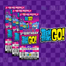 teen titans go ticket style birthday cartoon invites u2013 cartoon invites