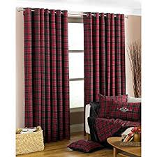 Grey Red Curtains Fully Lined Tartan Check Curtains Black Grey U0026 Red Curtain Pair