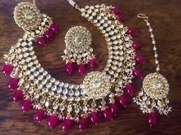 wedding jewellery indian wedding jewellery set gold plated necklace earrings tika