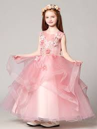flower dresses ball gown organza floor length applique soft