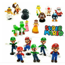 18 pcs super mario bros character figure display cake topper decor