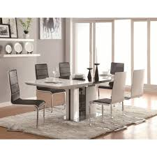 contemporary 5 piece white dining table set with upholstered