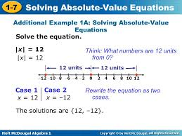 1 7 solving absolute value equations warm up lesson presentation