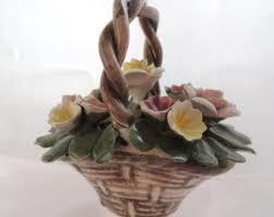 capodimonte basket of roses nuova capodimonte etsy