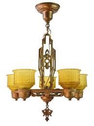Art Nouveau Lighting Chandelier Painted Deco 5 Light Chandelier Art Deco Victorian Art Nouveau