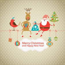 cute christmas card with santa volvoab