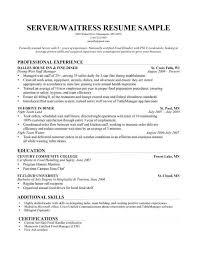 Server Resume Template Free Waitress Resume Template Free Server Resume Example Server Resume