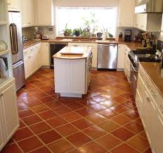 Country Kitchens With White Cabinets by Traditional Saltillo Terra Cotta Floor Tile In A Beautiful White