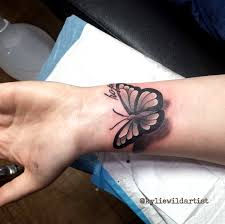 3d butterfly scar cover up black and grey by