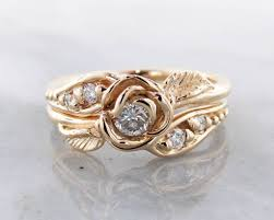 Gold Wedding Ring Sets by Diamond White Gold Wedding Ring Set Lacy Tea Rose Wexford Jewelers