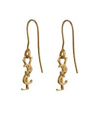Gold Monogram Earrings Saint Laurent Gold Plated Monogram Earrings In Metallic Lyst