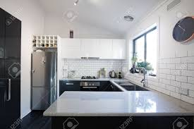 Contemporary Kitchen New Black And White Contemporary Kitchen With Subway Tiles