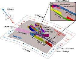 San Andreas Fault Line Map Sensitivity Of Uplift Patterns To Dip Of The San Andreas Fault In