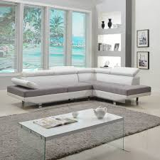 Modern White Bonded Leather Sectional Sofa Modern White Contemporary Two Tone Microfiber And Bonded Leather