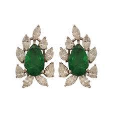 emerald stud earrings taruvi diamond emerald stud earrings jewellery bridal m walters