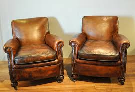 Pair Of Leather Club Chairs 284522 Sellingantiques Co Uk