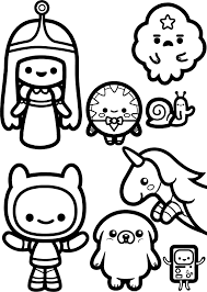 adventure time chibi coloring page wecoloringpage