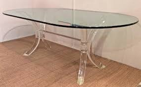 lucite dining table with oval glass top by charles hollis jones