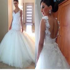 spaghetti wedding dress spaghetti appliques mermaid gown open scoop