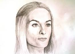 portrait sketching of game of thrones cersei lannister pencil