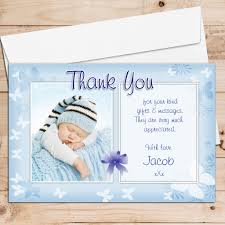 Christening And Birthday Invitation Card 10 Personalised Blue Thank You Photo Cards N135 Birthday