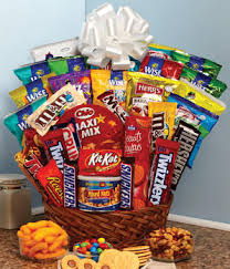 snack basket assorted candy and snacks gift baskets for sale