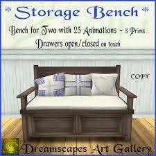 second life marketplace storage bench brown bench for two