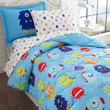 Funny Duvet Sets Little Boys Funny Monsters Blue Bedding Twin Or Full Bed In A Bag