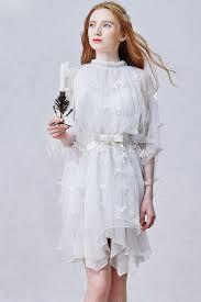 Knee Length Wedding Dresses Shop Discount Fairy Tale Tulle Butterfly Sleeve Knee Length
