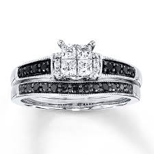 black diamond wedding sets black white diamonds 5 8 ct tw bridal set 10k white gold