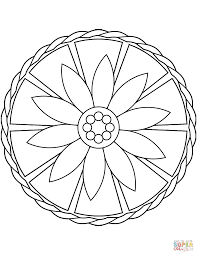 easy mandala with flower coloring page free printable coloring pages