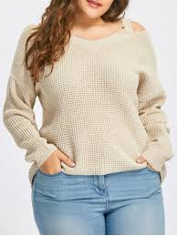 apricot 3xl plus size high low cold shoulder sweater rosegal
