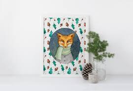 christmas fox printable fox wall decor print christmas