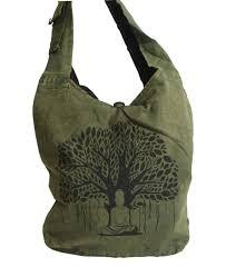 buddha and bodhi tree printed messenger bag