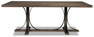 dining room trestle table magnolia home traditional iron trestle table levin furniture