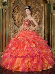orange quinceanera dresses strapless beading and ruffles orange quinceanera gowns 178 85