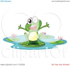 cartoon of a happy frog on a lily pad royalty free vector