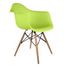 set of 4 eames style daw molded lime green plastic dining armchair